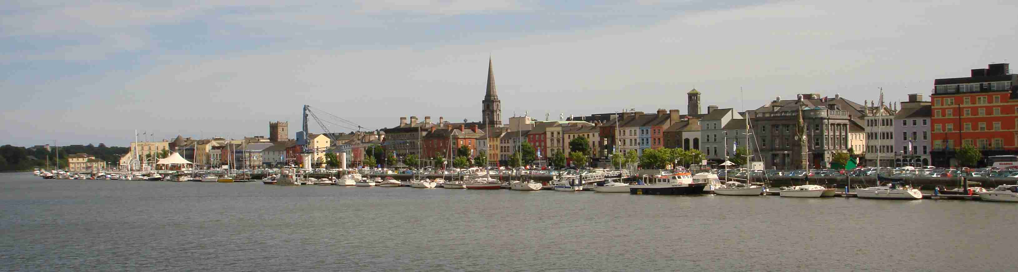 Views from across the River Suir showing the Quays of Waterford City, Ireland